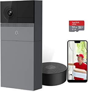 Wireless Security Video Doorbell with Camera, B1 Smart WIFI Door Bell with Motion Detector, Compatible with Alexa, Night Vision, IP65 Waterproof, 32GB Pre-Installed,USB Indoor Wireless Chime Included