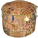 Indian Living Room Pouf, Foot Stool, Round Ottoman Cover Pouf,Traditional Handmade Decorative Patchwork Ottoman Cover,Indian Home Decor Cotton Cushion Ottoman Cover 18x15 inche (White)