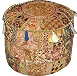 NANDNANDINI- Indian Vintage Ottoman Pouf Cover ,Patchwork Ottoman, Living Room Patchwork Foot Stool Cover,Decorative Handmade Home Chair Cover