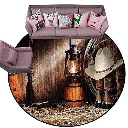 "Large Floor Mats For living room Colorful Western Decor Collection,Authentic Gear Straw Hat Atop Genuine Leather Boots and Kerosene Oil Lantern Lamp,Dark Brown Diameter 48"" Round Camping rugs for outs"