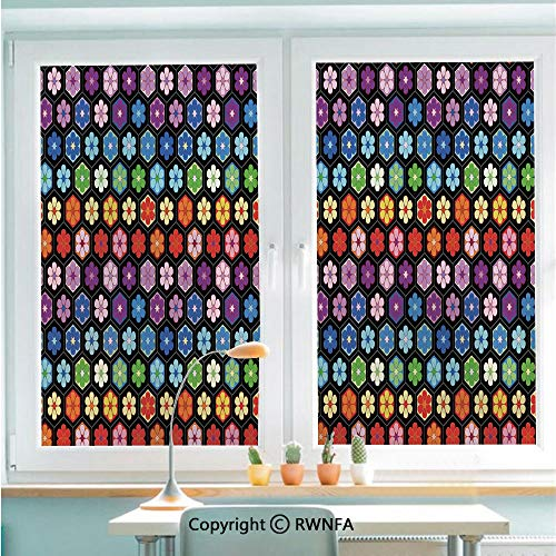 RWNFA Window Films Privacy Glass Sticker Colorful Vibrant Daisy Blossom Motifs Classic Hexagonal Comb Pattern African Flower Static Decorative Heat Control Anti UV 22.8In by 35.4In,Multicolor