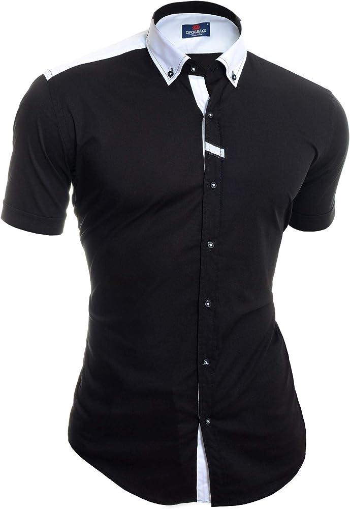 Cipo & Baxx Camisa de Manga Corta para Hombre Polo Blanco Negro ...