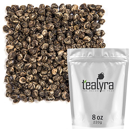 Tealyra - Superfine Jasmine Dragon Pearls - Best Chinese Jasmine Loose Green Tea Leaf - Organically Produced - Pleasant Aroma and Tonic Effect - 220g (8-ounce) (Gunpowder Imperial)