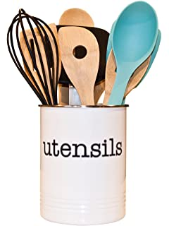 White Utensil Holder   Kitchen Utensil Crock To Organize Your Kitchen  Gadgets And Cooking Gadgets And