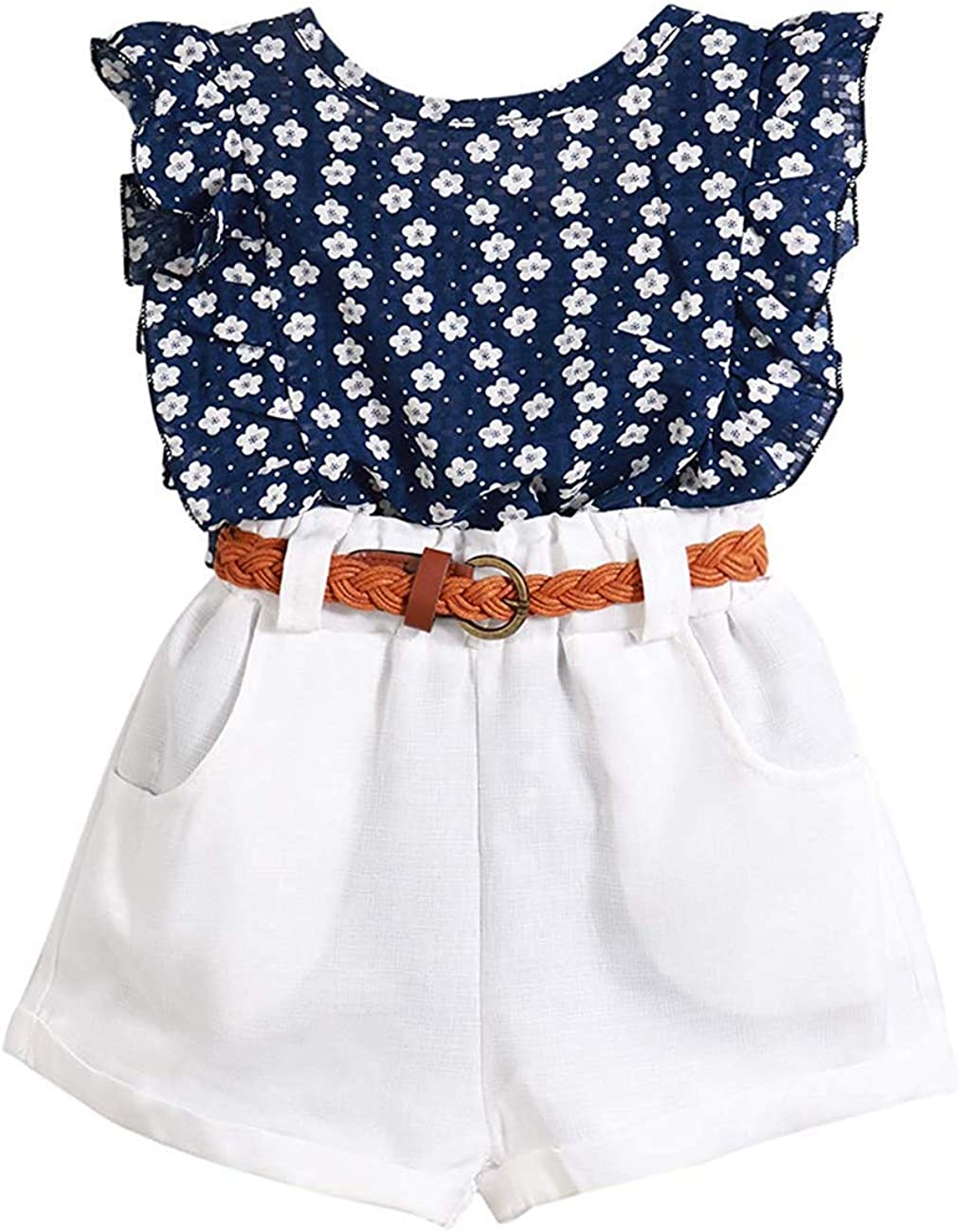 Toddler Girls Clothes Ruffle White Floral T-Shirt Top with Short Pant Casual Summer Outfits