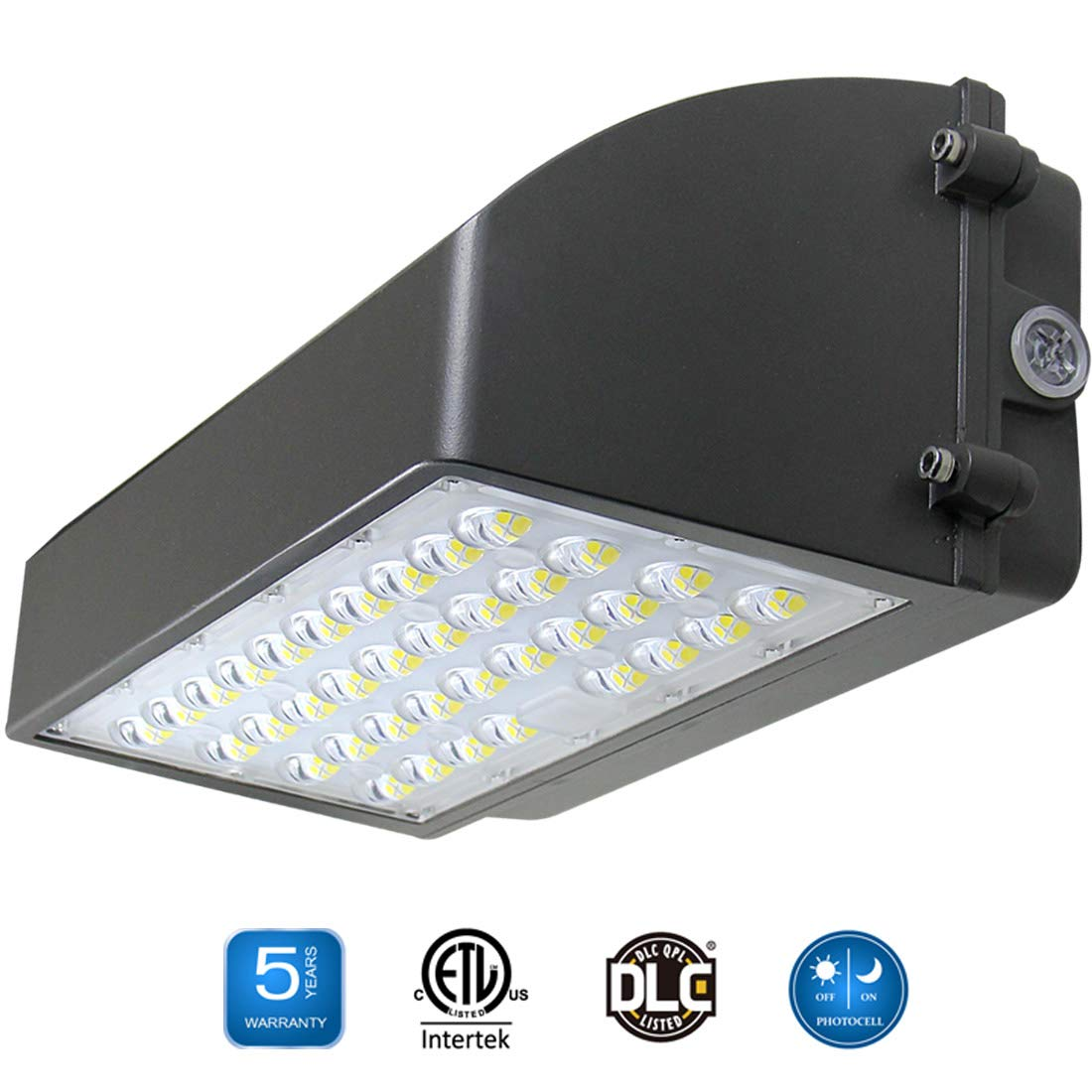 LED Wall Pack Light with Dusk to Dawn Photocell 60W, Full Cutoff LED Outdoor Commercial Industrial Lighting Fixture, Daylight 5000K IP65 Waterproof ETL DLC Listed 200-300W HPS/MH Replacement