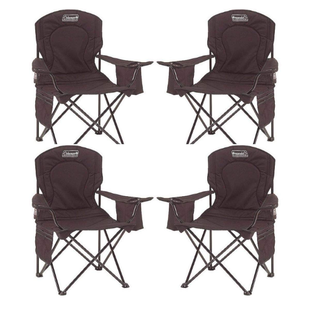 Coleman Oversized Quad Chair with Cooler Pouch (Black/Set of 4)