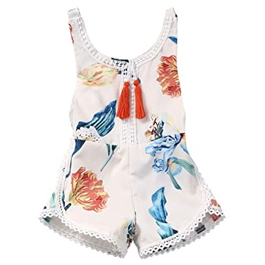 46686fae73a7 Amazon.com  Baby Toddler Girls Boys Summer Clothes Rompers Onesies 1-4  Years Old Kids Fashion Sleeveless Bow Jumpsuits  Clothing