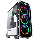 Noua Cool G57 White Case ATX per PC Gaming 0.60MM SPCC 4 Ventole Dual Halo RGB Rainbow Frontale Tempered Glass 3*USB3.0/2.0 Pannelli Laterali in Vetro Temperato (AxPxL: 480x425x200 mm)