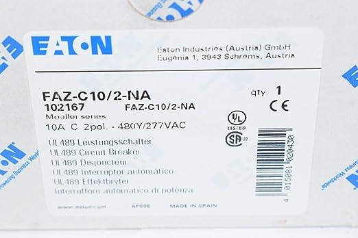 2P 10A Curva C NA Eaton FAZ-C10//2-NA Interruptor Magnetot/érmico FAZ