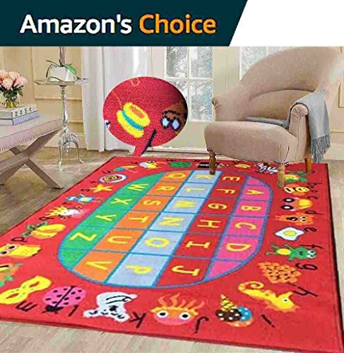 Educational ABC Alphabet Balloons 5 Ft. X 7 Ft. Area Rug KIDS CHILDREN SCHOOL CLASSROOM BEDROOM EDUCATIONAL RUG NON SKID GEL - Best Location Buy Near Current