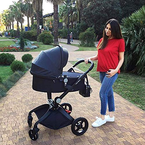 617qknOniaL - Baby Stroller In 2020,Hot Mom Baby Carriage With Adjustable Seat Height Angle And Four-Wheel Shock Absorption,Reversible,High Landscape And Fashional Pram,Black