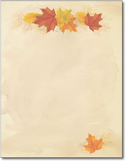 amazon com simple fall leaves stationery paper 80 sheets 8 5 x