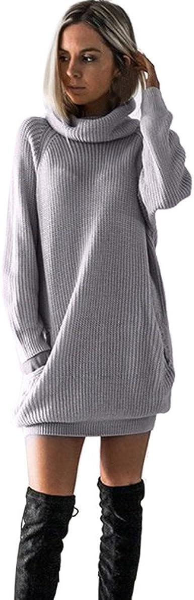 CNFIO Mujer Vestido Cuello Redondo Manga Larga Plus Tama/ño Tops Moda Jersey Punto Mujer
