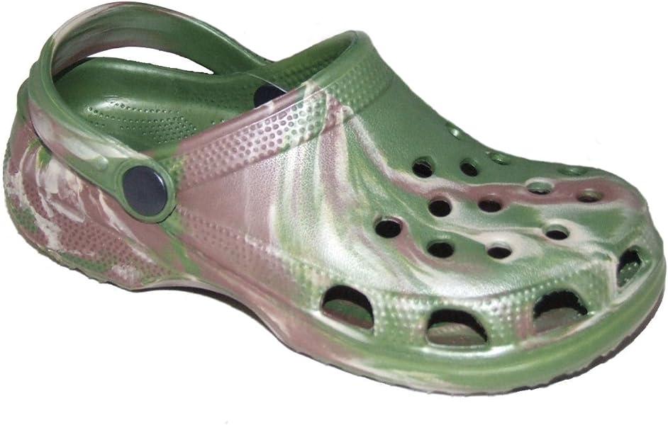 9007ee70be6 ... Sabots style Crocs en plastique Camouflage Sandales. garçons Camo  Classique moulé Crocs Sandales - Vert - Camouflage Vert