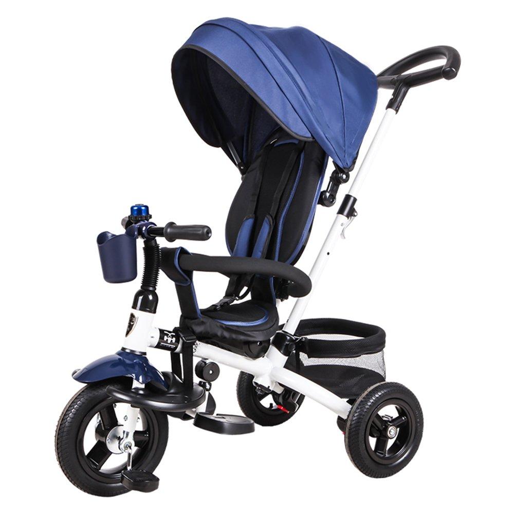 HAIZHEN マウンテンバイク 赤ちゃんの三輪車18ヶ月 キッズトライアックと5年間複数の調整可能なサンシェードサイレントホイールの容量最大25キロ 新生児 B07C86MKW8 青 青