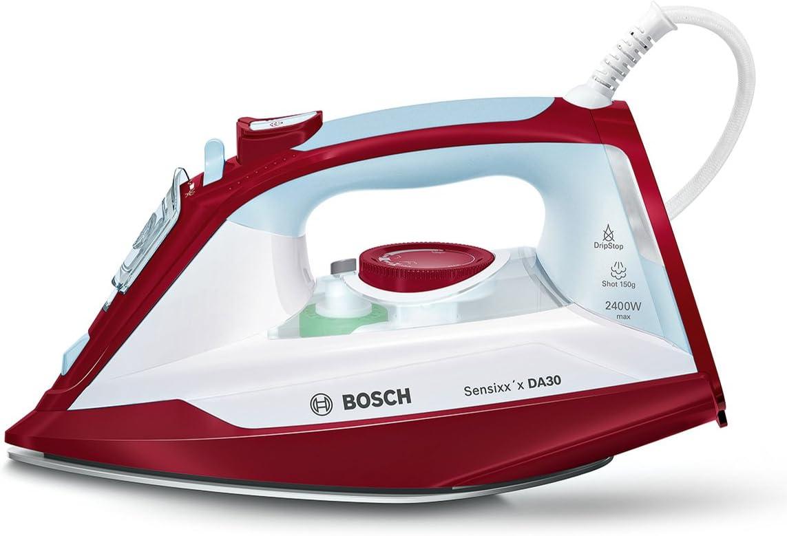 Bosch TDA3024010 Plancha de Vapor, 2400 W, 0.32 litros, 0.3, Plástico, Blanco/Rojo