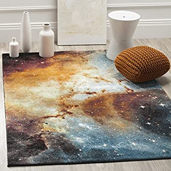 Safavieh Galaxy Collection GAL109D Abstract Watercolor Orange and Multi Area Rug (3' x 5')