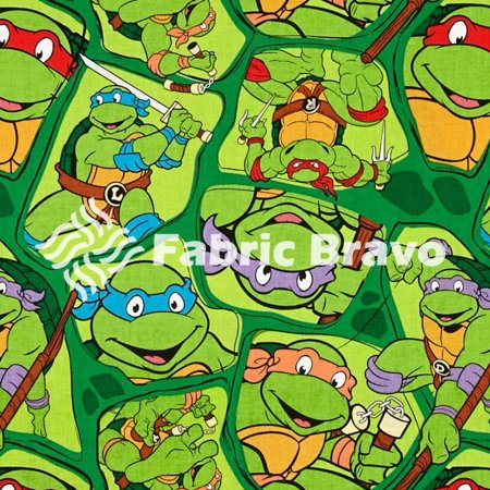 Teenage Mutant Ninja Turtles TMNT On Shell Print Toss Cotton Fabric, By The Yard (FB)