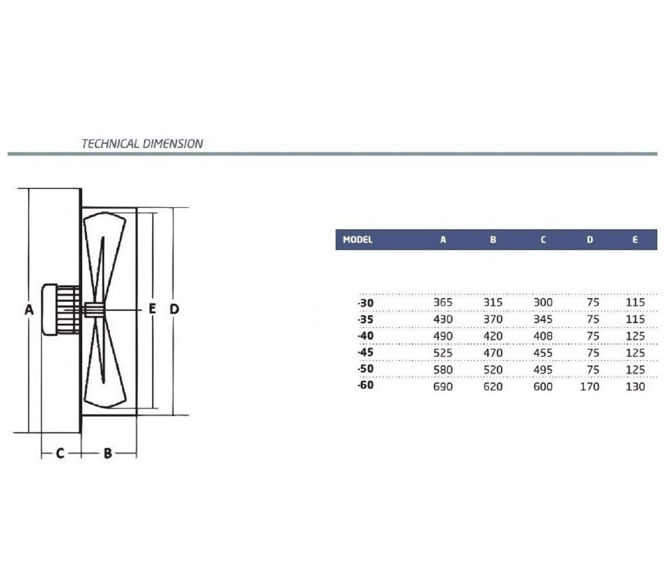 350mm Ventilador industrial Ventilaci/ón Extractor Ventiladores ventiladore industriales Axial axiales extractores aspiracion mura pared ventana extractores Helicoidal Helicoidales Extraccion