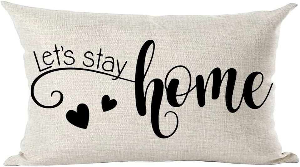 ramirar Black Word Art Quote Let's Stay Home Love Gift for Family Lover Decorative Lumbar Throw Pillow Cover Case Cushion Home Living Room Bed Sofa Car Cotton Linen Rectangular 12 x 20 Inches