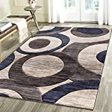 Geometric Carved Design Persian Area Rug Emerald Collection (2′ x 3′, Blue/Grey) Review