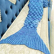 "Mermaid Tail Blanket Scales Knitted All Seasons Sleeping Bag Sofa Bed Snuggle Cozy for Kids (scale blue, 56"" x 28"")"