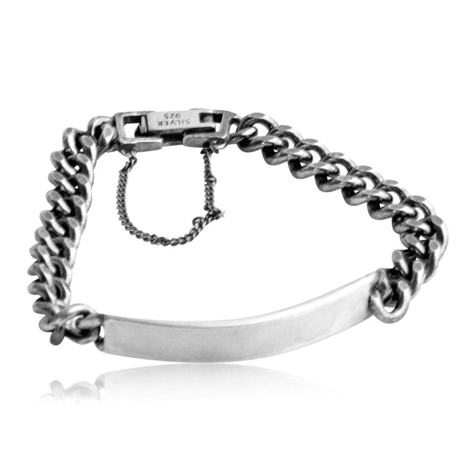 Daesar 925 Silver Bracelet For Men Curved Chain Shape Bracelet Silver Chain Length:17CM