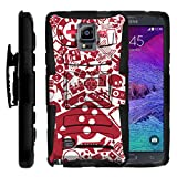 TurtleArmor | Compatible for Samsung Galaxy Note 4 Case | N910 [Hyper Shock] Armor Rugged Hybrid Cover Hard Stand Impact Layer Holster Belt Clip Video Games Design - Gaming Collage