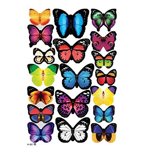 Vine_MINMI Wall Decal Multi 3D Butterfly Sticker Fridge Sticker/H-017B (Multicolor, 1 Set) ()