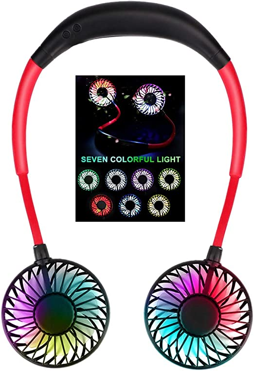 3-Speed Office and Travel 360-Degree Free Rotation for Home 7-Color LED Black Hands-Free USB Personal Neck Fan with Aromatherapy Portable Mini Headphone Design Neck Fan