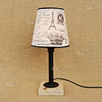 Baycher Nordic bedroom bedside water pipes wood base table lamp American retro creative black table light cloth shade desk lamp for Bar cafe restaurant clothing store Height: 45cm