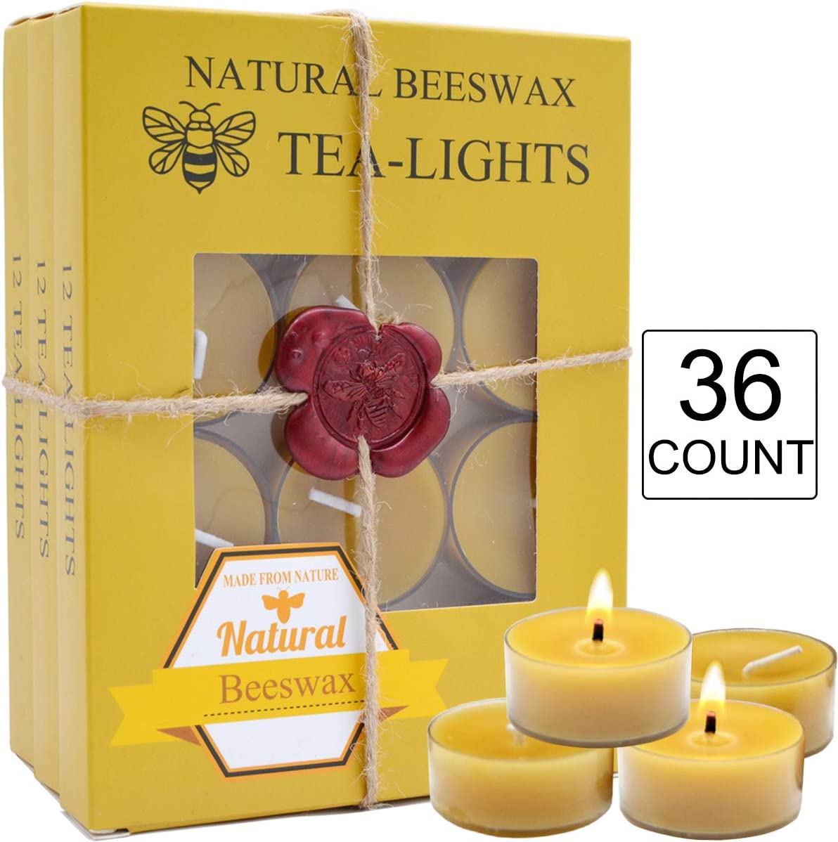 Gift Packing 36 Count Beeswax tealight Candles Bulk Natural Scent and Smokeless