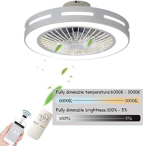 Ventilador De Techo Carrefour Velocidad Del Viento Ajustable,Ventiladores De Techos Con Iluminación 80W LED Techo Lámpara Remoto Control Regulable Súper Silenciosa Invisible Ventilador,56cm(a1): Amazon.es: Iluminación