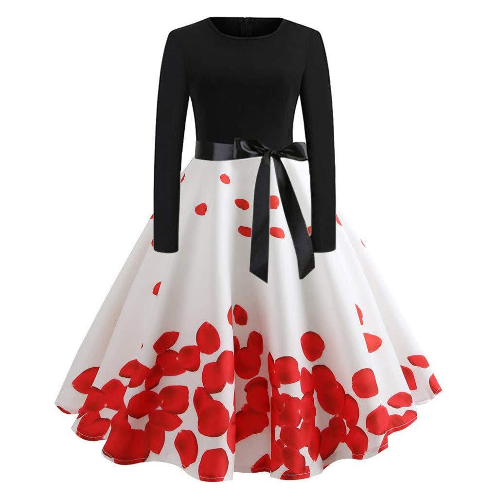 Women's Elegant Retro Dress,CSSD Ladies' Casual Evening Petal Printing Loose O-Neck Long Sleeve Slim Dresses (2XL, White)