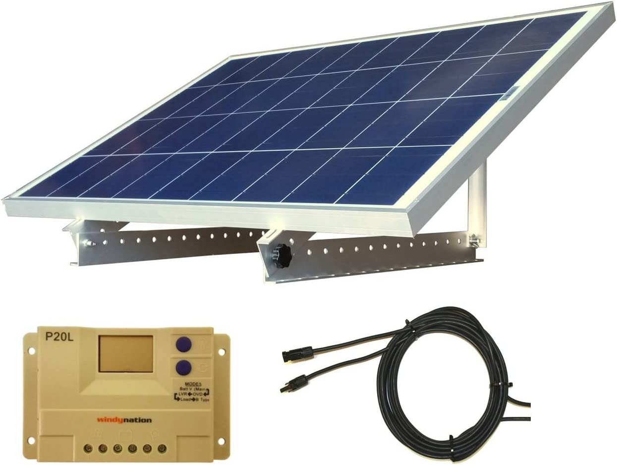 WindyNation Portable 100 Watt 12V Solar Panel Kit w Adjustable Mount Rack and LCD Charge Controller RV, Cabin, Off-Grid Battery