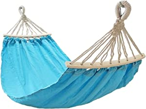 Outdoor Tent, Portable Hammock Garden Hammock with Wooden Canvas Fabric Bars Portable Compact Single Hammock Perfect for Patio Yard Outdoors Furniture Travel (Color : Blue)