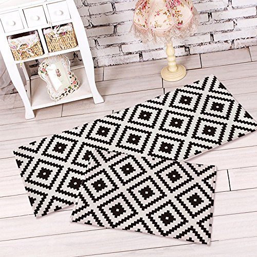 yazi Non-Slip Doormat Kitchen Rugs Black&White Style Mat Mosaic Cube (15.7x23.6inch + 15.7x45.3inch) Mother's Day Gift