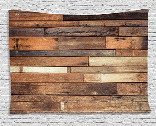 (Ambesonne Wooden Wall Hanging Tapestry, Rustic Floor Planks Print Grungy Look Farm House Country Style Walnut Oak Grain Image, Bedroom Living Room Dorm Decor, 60 W X 40 L Inches,)