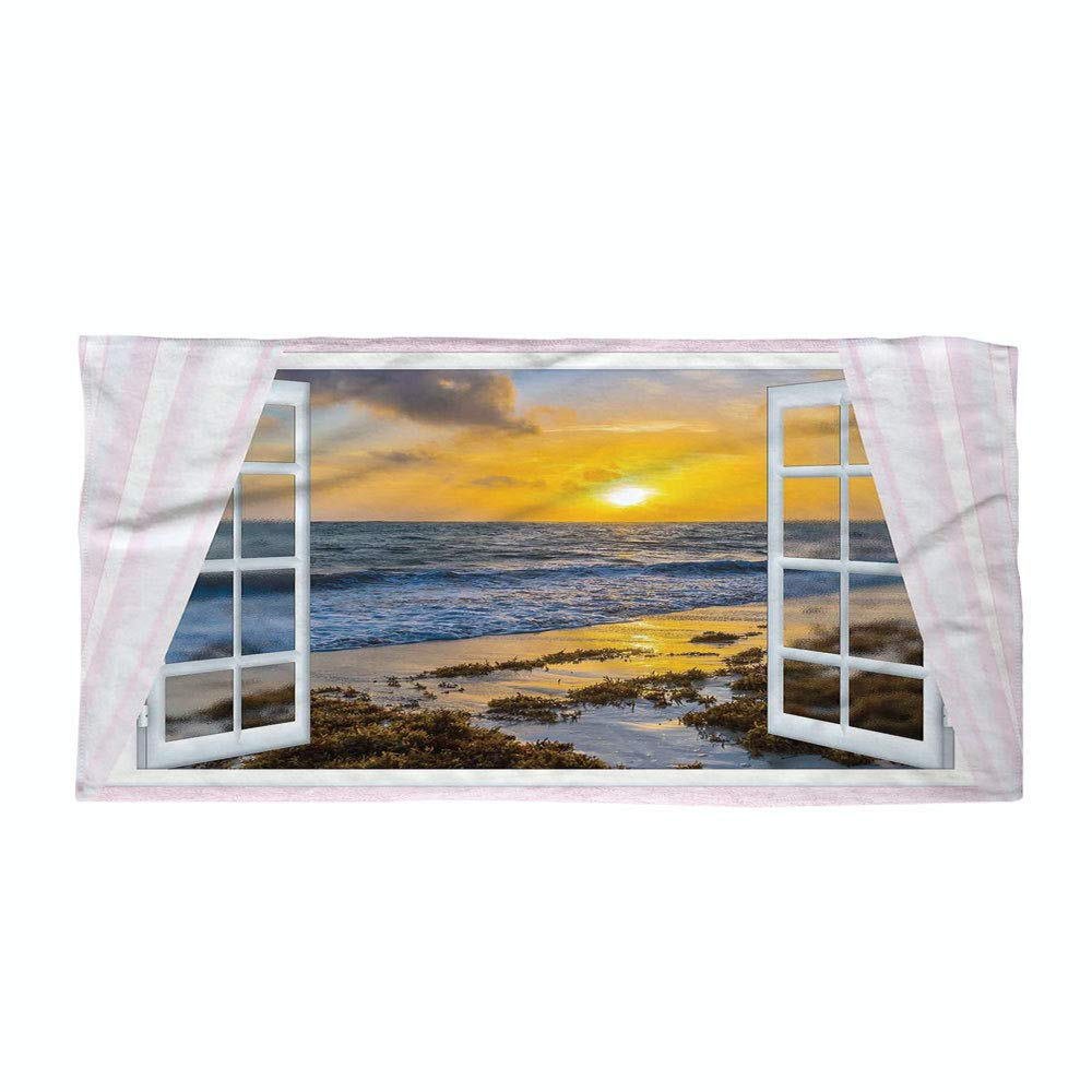 iPrint Cotton Microfiber Beach Towel,Coastal,Open Window View of The Sky with Clouds Rising Sun Seascape Grass Morning Scenery,Multicolor,for Kids, Teens, and Adults