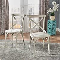 Shiff Farmhouse Classical Plastic Nylon Dining Chairs, Set of 2 (French White)
