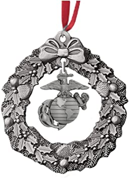 Indiana Metal Craft US Marine Corps Wreath Charm Pewter Ornament