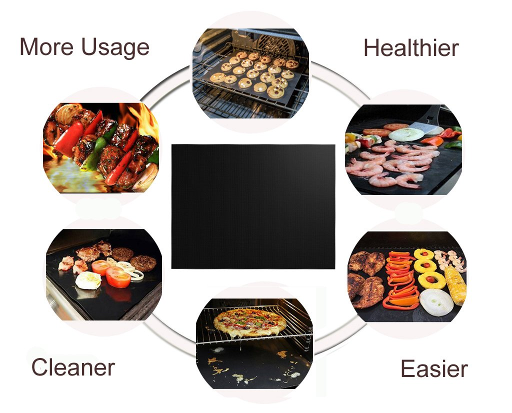 Grill Mat Set of 6 - 100% Non-Stick BBQ Grill Mats, Heavy Duty, Reusable, and Easy to Clean - Works on Electric Grill Gas Charcoal BBQ - Extended Warranty - 15.75 x 13-Inch, Black by Renook (Image #4)