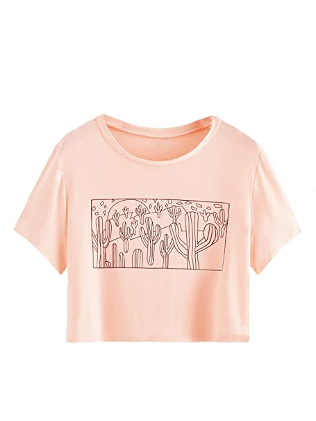 8b318a9fe SweatyRocks Women's Cactus Print Crop Top Summer Short Sleeve Graphic T- Shirts Pink X-