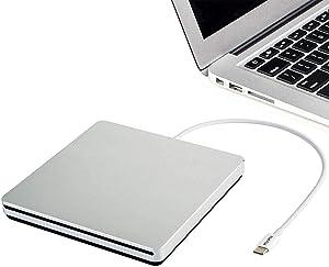 VikTck Tpye-C USB-C Superdrive External DVD/CD Reader and DVD/CD Burner for Apple-MacBook Air/Pro/iMac/Mini/MacBook Pro/ASUS/ASUS/DELL Latitude with USB-C Port Plug and Play(Silvers)