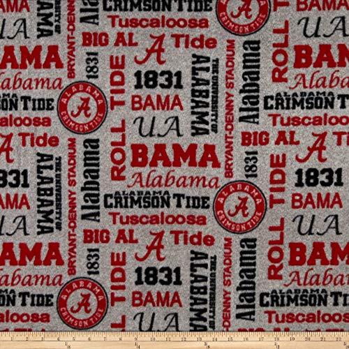 (Sykel Enterprises NCAA Fleece Alabama Heather Verbiage Fabric, Team Color, Fabric By The Yard )