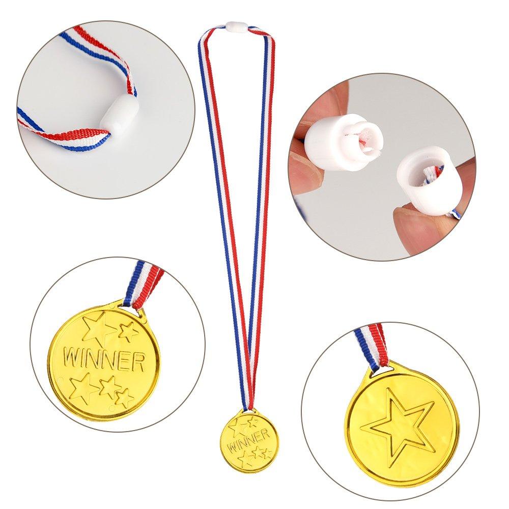 FEPITO 35 Pcs Kids Gold Winner Medallas Medallas de plástico para ...