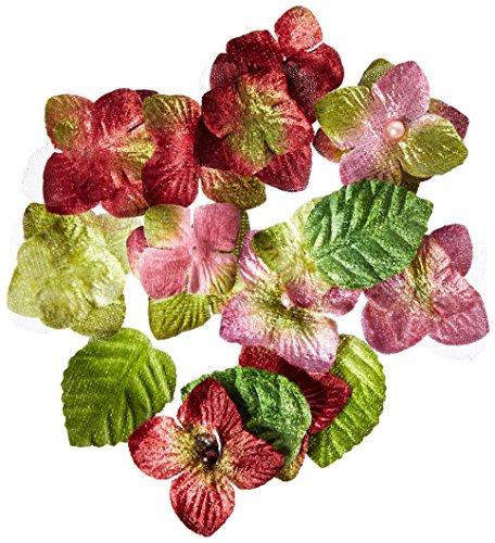 Floral Embellishments Velvet Hydrangeas With Glitter 36/Pkg-Rose