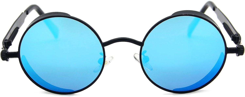 AMZTM Piccolo Rotondo Rispecchiato Blu Ghiaccio Lenti Polarizzati Metallo Occhiali Da Sole Da Uomo E Donna