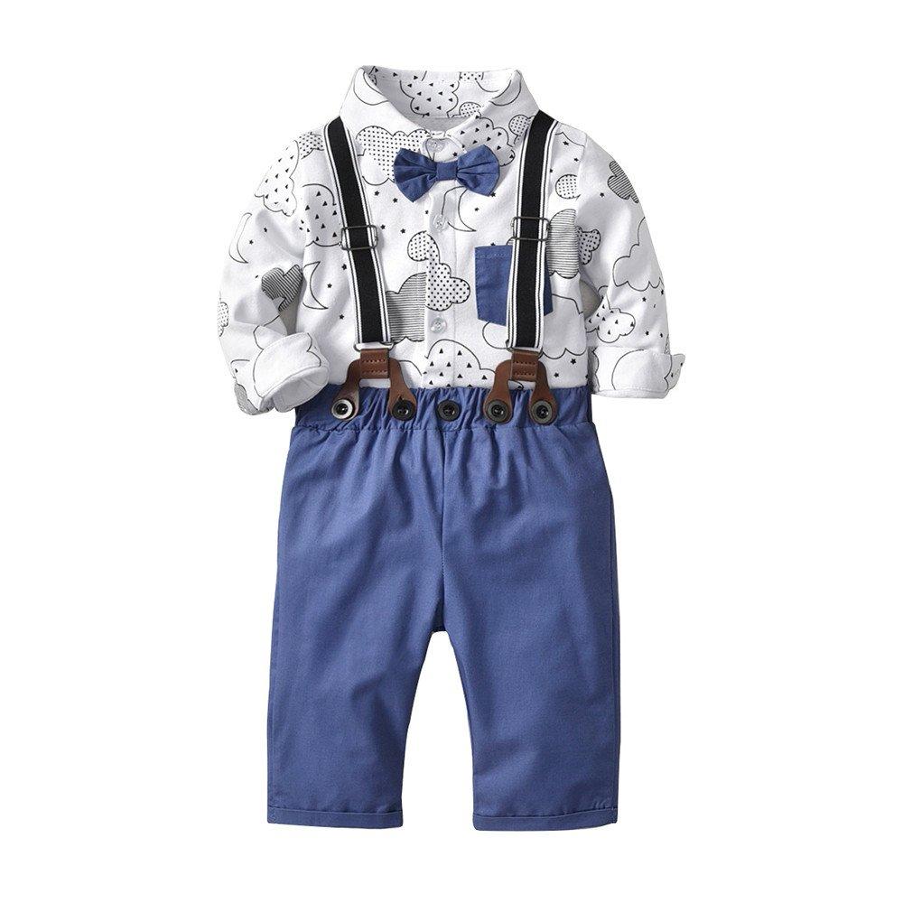 BYSTE Ragazzo Carino Piccolo Vestito Gentleman,Manica Lunga Nube Stampa Camicia Estate T-Shirt Top Body Romper Elasticit/à Bretelle Pantaloncini//6-24 Mesi